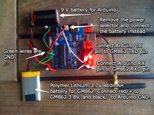 Crude battery power Arduino and GM862