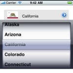 UI to select a state from the picker to update the image/label. The arrow button controls the visibility of the picker.